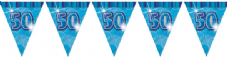 Blue Glitz '50th' Birthday Flag Banner
